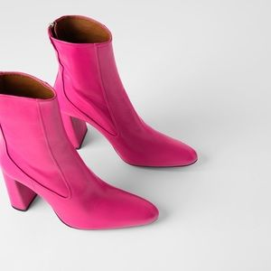 ZARA LEATHER HEELS ANKLE BOOTS